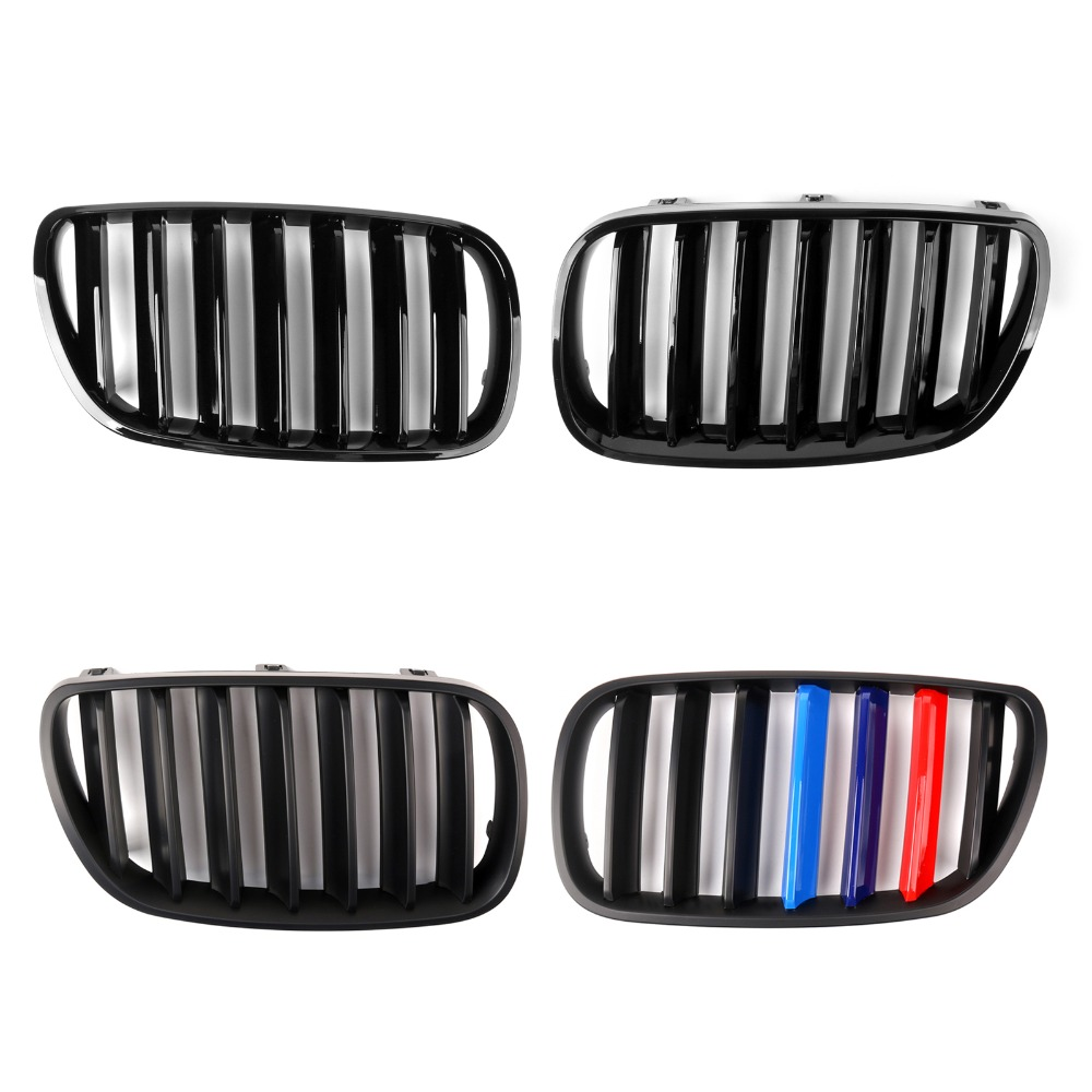 Areyourshop Car Grille For BMW E83 X3 SUV 2007-2010 ABS Plastic 1 Pair Front Grilles Pair Front Bumper Grille Car Accessories pair car front headlamp clear lens headlight plastic shell clear cover for bmw e90 e91 2004 2005 2006 2007