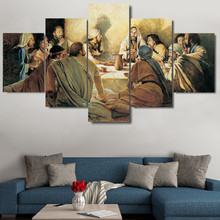 Abstract Modern Home Decoration Canvas Printed Painting 5 Panel Last Supper Framed Wall Art For Living Room Modular Picture