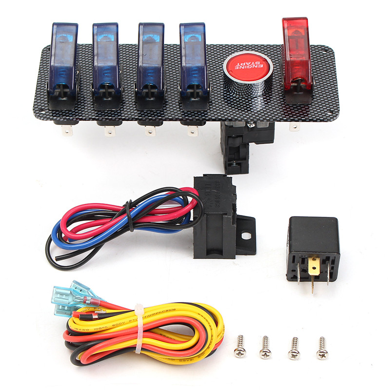 Newest 12V Racing Car Ignition Switch + 4 Blue & 1 Red LED Toggle Button Panel Low Price
