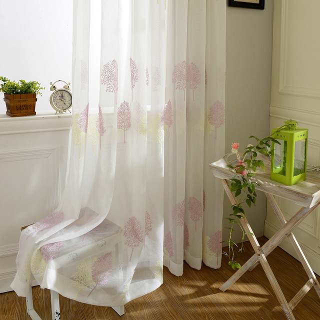 Tulle Curtains Luxury Embroidered White Window Sheer Voile Living Room Treatment Transparent Door European Curtain