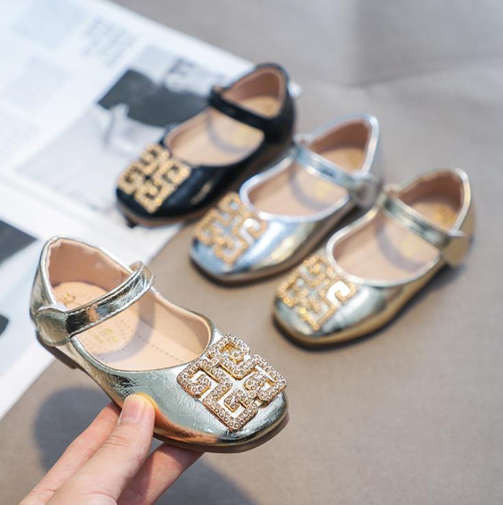 Spring Children Girls Pu Shoes Girl Princess Paillette  Flat Bean Dance Shoes Black  Sliver Gold 26-35 923 TX07