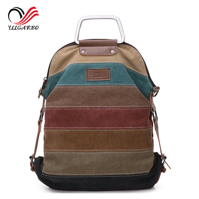 New Fashion Patchwork Block Women Canvas Backpack Rucksack Multifunction Girls Travle Portable Crossbody School Bag Backpacks