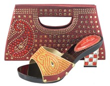 Fashion Women Sandal Shoe And Matching Bag Set For Wedding And Party High Quality African Italian Shoe And Bag Set BCH-02