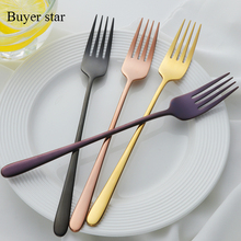 7PCS Set Dinner Stainless Torch Shape Sliver Cutlery Set Korean Style Long Handle Dining Table Forks
