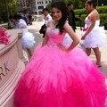 Beadded Ombre Vestidos de Quinceañera 2017 Vestidos de Bola de Cristales de Las Colmenas Largo Barato Dulce 15 Años Vestidos De 15 Anos 2017 Princesa