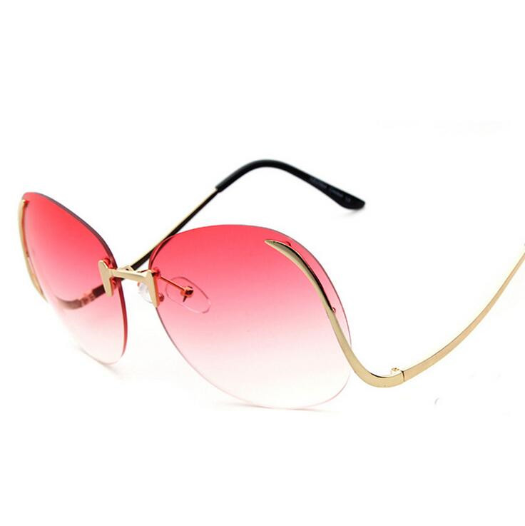 c0ed26c4fe Classic Clear Rimless Glasses Gold Frame Gradient Vintage Sunglass Women  Men UV400 Cat Eye eyeglass Transparent Shades lunettes-in Sunglasses from  Apparel ...