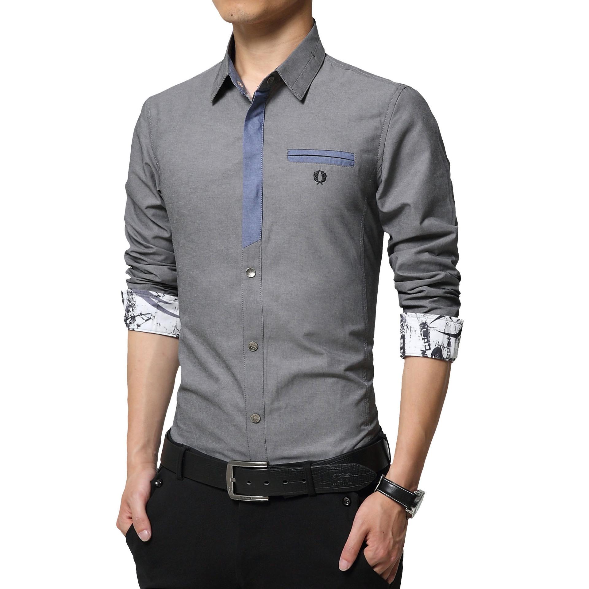 Floral Print Striped Dress Men Shirt Uniform Mens Long Sleeve Slim Fit Top Vintage Cotton Button Down Shirts Camisa Masculina 37