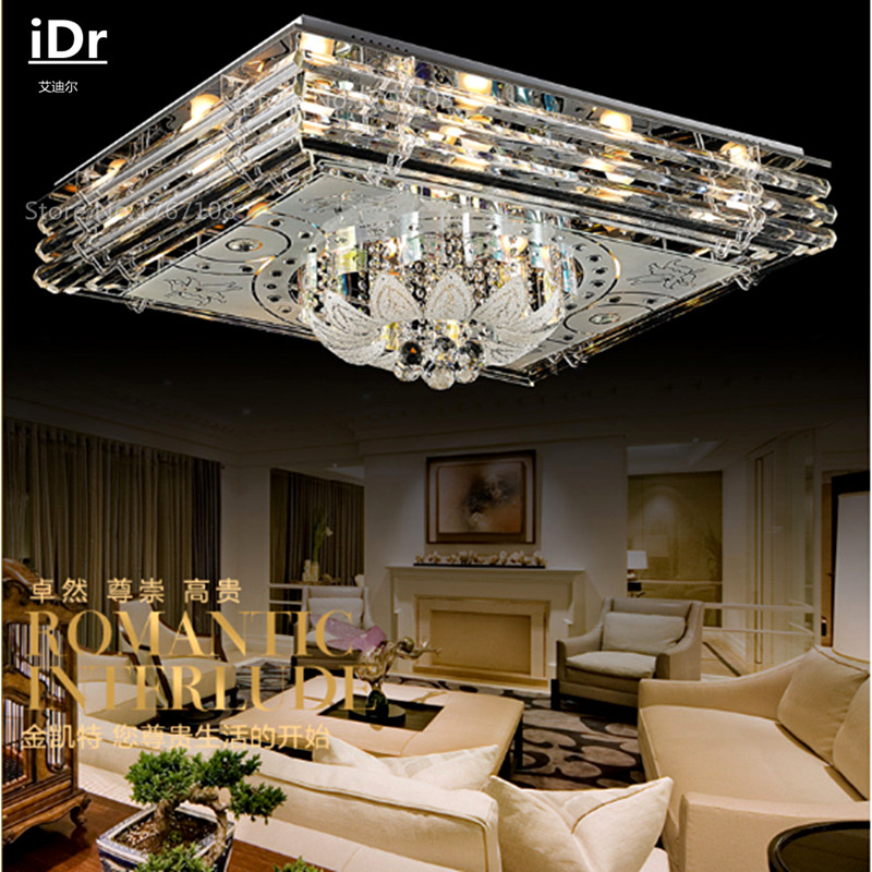 New Personality Low Pressure Crystal Lamp Modern Minimalist Rectangular Living Room Led Ceiling Light L900xW700MM