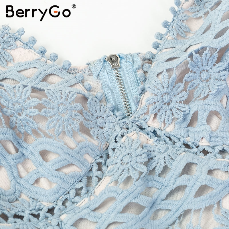 BerryGo Women white lace dress party spaghetti strap Embroidery ruffle sexy dress V-neck hollow out summer dresses ladies 19 11