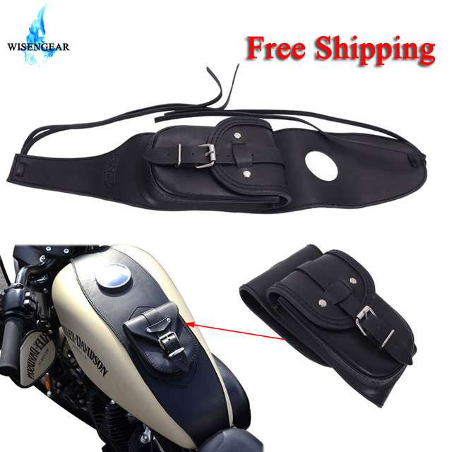 Wisengear Motorcycle Tank Bag Saddlebags Pu Leather Tools For Harley Sportster 1200 Xl1200 Xl 883