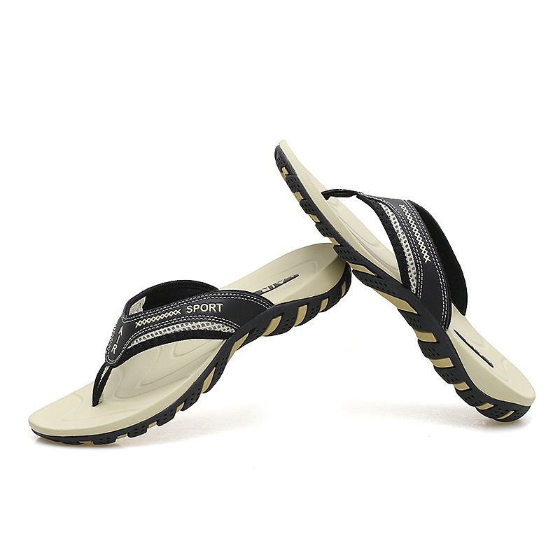 MIUBU 2019 Summer Fashion Mens Flip Flops Anti slip Couple Handmade Word Drag Comfortable Classic Massage Beach Slippers in Flip Flops from Shoes