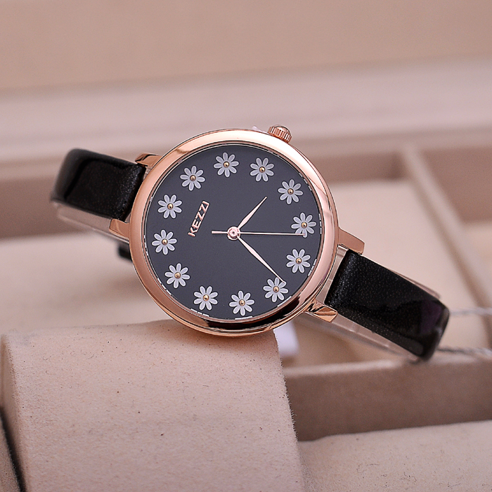 Luxury Brand KEZZI Leather Strap Womens Watches Fashion Sweet Analog Daisy Flowers Dial Quartz Movement Waterproof Ladies Watch new arrival kezzi brand leather strap ladies watch fashion analog japan movement waterproof quartz watch wrist watches for men