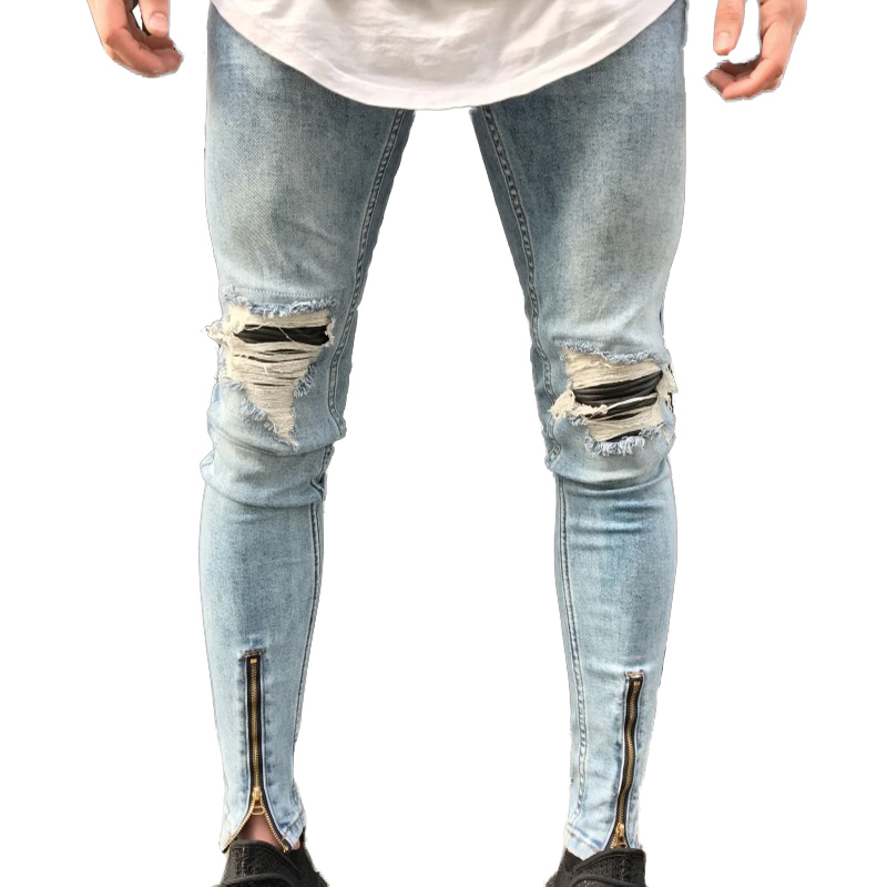 4cb1908423ef8b QoolXCWear new Jeans Hole Jogger Skinny Jeans Men Biker Jeans Pencil Pant  Mens Zipper Ripped Jeans Men-in Jeans from Men's Clothing on Aliexpress.com  ...