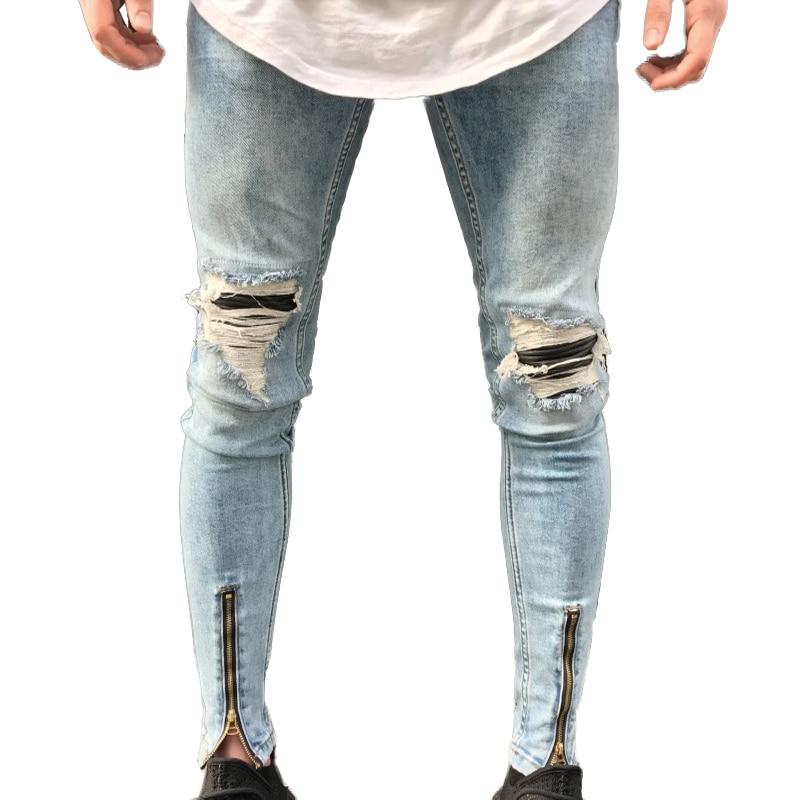 Qoolxcwear جديد الجينز حفرة jogger ممزق نحيل الجينز الرجال السائق جينز رصاص بانت رجل سستة الجينز الرجال-في جينز من ملابس الرجال على  مجموعة 3