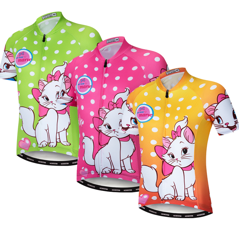 Cycling Jersey Sportswear Road-Bike Girl Children Pink Summer for Boy And Cat 10-Styles