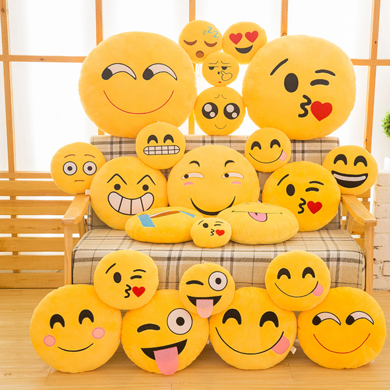 30 CM Soft Emoji Yellow Round Cushion Emoticon Stuffed Plush Toy Smiley Pillow Activity Small Gift Funny Hold Pillow #253935