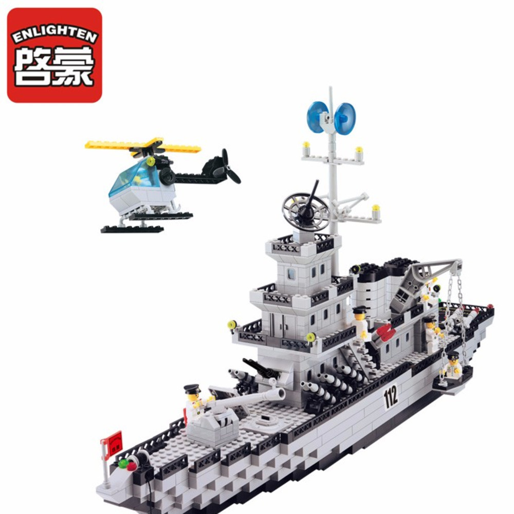 Enlighten Cruiser soldiers Military army Children Model Bricks Blocks Toys Building blocks Educational For kids enlighten 1406 8 in 1 combat zones military army cars aircraft carrier weapon building blocks toys for children