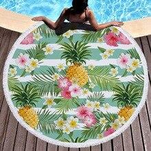 150cm Picnic Yoga Mat Blanket Carpet 500g Microfiber Microfiber Flamingo Printed Round Tassel Beach Towel