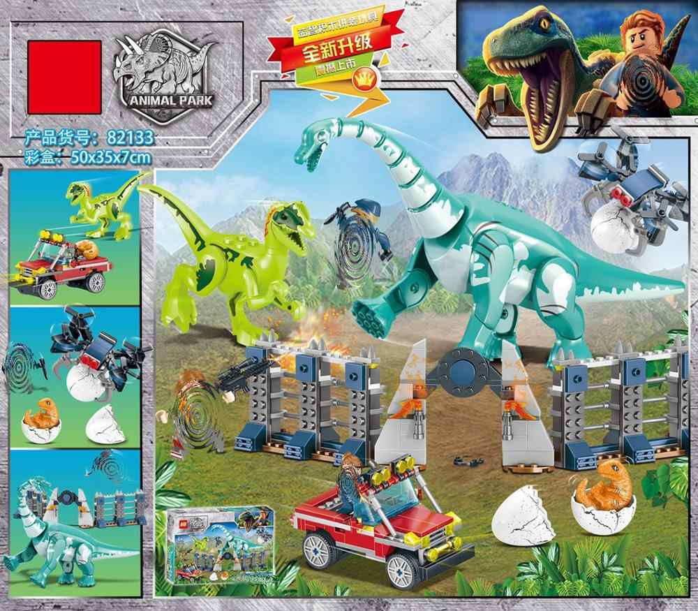 New Dinosaurs Series Blocks The Jurassic World Brachiosaurus Velociraptor Action Figures Kids Toys Compatible With Jurassic Park
