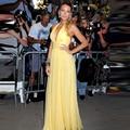 Gossip Girl Serena de la Alfombra Roja Vestidos Halter Puffy Gasa Amarillo Baile Vestidos Largos 2016 Vestidos Del Partido Vestidos de Noche Especial