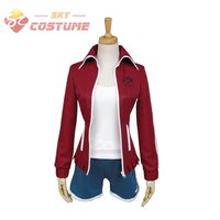 Dangan Ronpa Danganronpa Cosplay Aoi Asahina Uniform Wine Red Shorts For Women Girls Anime Halloween Party Cosplay Full Set