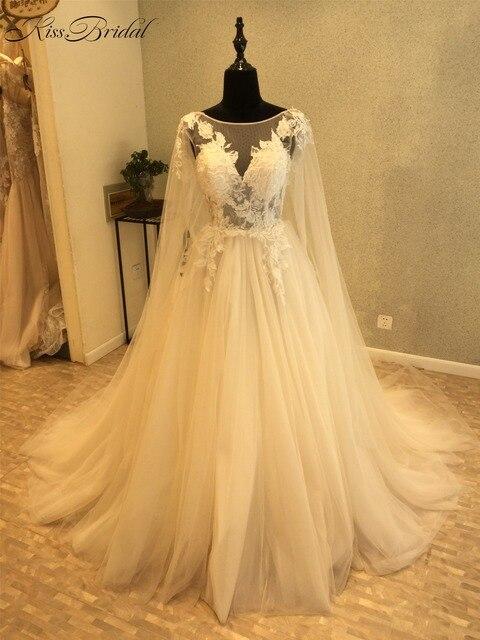 New Design Elegant Long Wedding Dress 2018 Scoop Long Sleeves Chapel ...