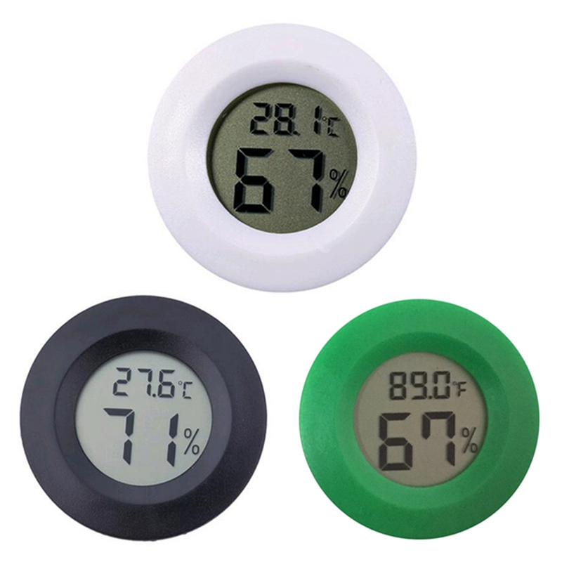 Hygrometer Thermometer Digital LCD Monitor Round Humidity Meter Gauge For Indoor Greenhouse Basement Babyroom Outdoor Camping
