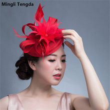 8e7c41325112a Mingli Tengda 2018 Pink/Red Formal Feather Wedding Hats for Women Elegant  Vintage Bridal Hats