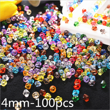 100pcs 4mm Bicone Austria Crystal Beads charm Glass Bead Loose Spacer for DIY Jewelry Making