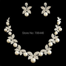 Silver Plated Wedding Bridal Jewelry Sets Ivory Pearl Rhinestone Crystal Wedding Necklace and Earrings