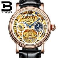 Switzerland BINGER Men Watch Big Mechanical Watch tourbillon Leather Strap Moon phase Sapphire Waterproof Automatic Watches 43mm