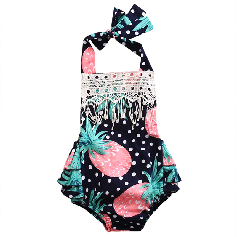 2017 Summer Newborn Infant Baby Girl Floral Pineapple Lace Halter Romper Jumpsuit Outfits Sunsuit Toddler Kids Clothes summer newborn infant baby girl romper short sleeve floral romper jumpsuit outfits sunsuit clothes