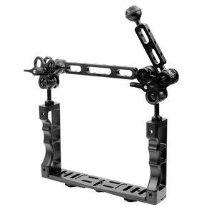 Image 2 - Sistema de brazo de luz subacuática CNC para buceo soporte de bandeja de Triple abrazadera, mango estabilizador de agarre para Video Gopro DSLR Cam Torch