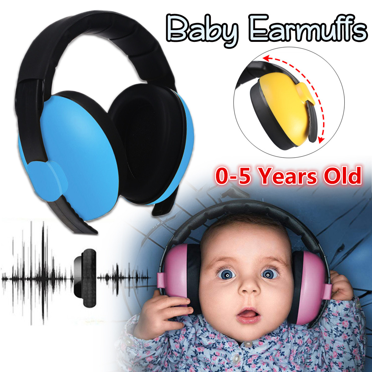 Baby Earmuffs 3 Months-5 Years Old Child Baby Hearing Protection Safety Earmuffs Noise Reduction Ear Protector