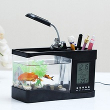Multi-function Mini Fish Tank Plastic Aquarium USB Auto with LED Light LCD Display Screen and Clock
