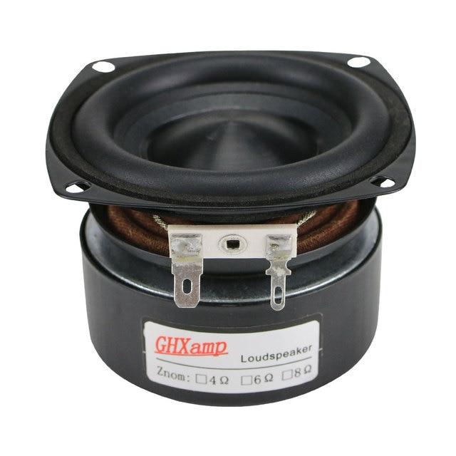GHXAMP 3 inch Woofer Subwoofer Speaker 4ohm 25W Hifi Square Bass Speaker Black Alumina Ceramic Cap Rubber Edge 2pcs 5