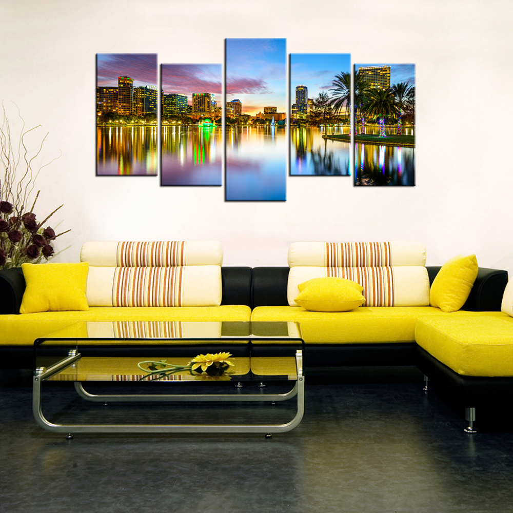 Contemporary Art Home Decorative Paintings Modern City Night View ...