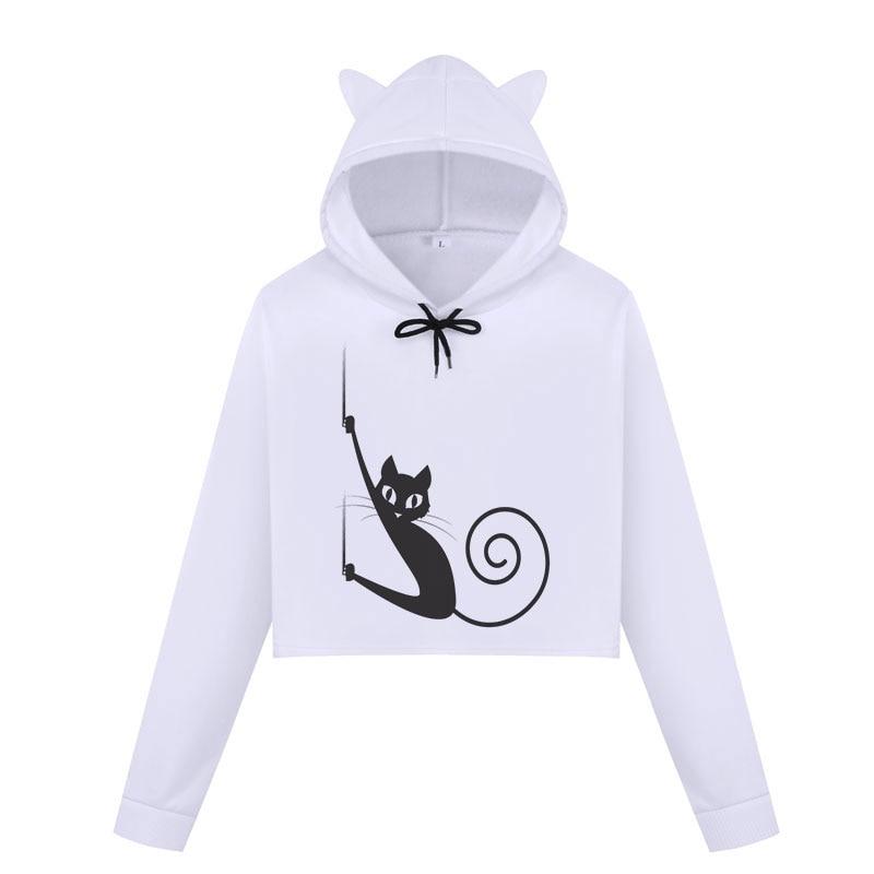 Womens Cat Sweatshirts Hoodies Crop Tops 2