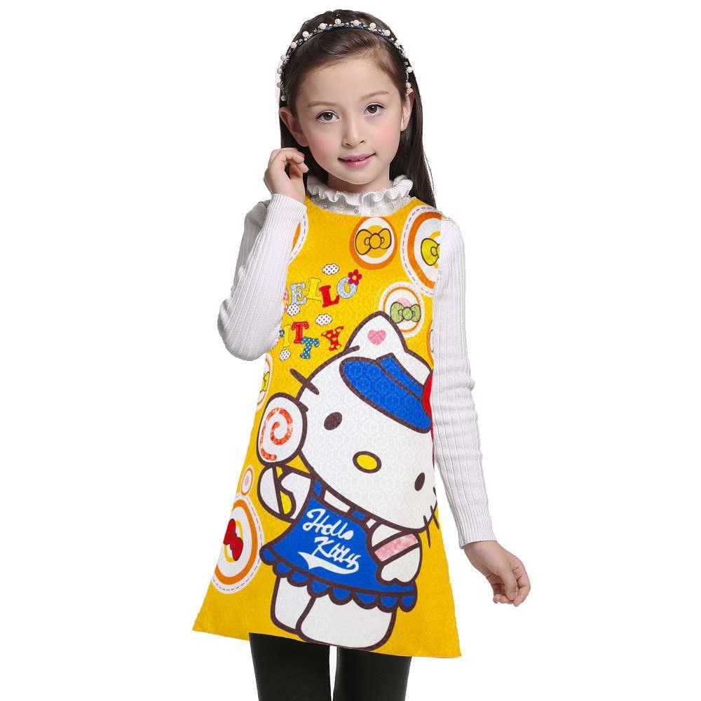 3 4 5 6 7 8 9 10 11 12 Tahun Anak Gadis Gaun Hello Kitty Musim Panas Bayi Pakaian Memakai Pesta Ulang Di Dresses Dari Ibu