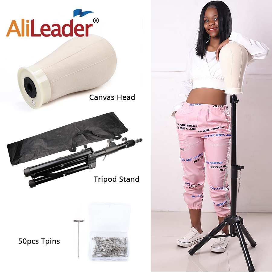 AliLeader 126cm Adjustable Wig Stand Tripod With Canvas Head For Wig Hair Extension Display Strong Training Head Tripod image