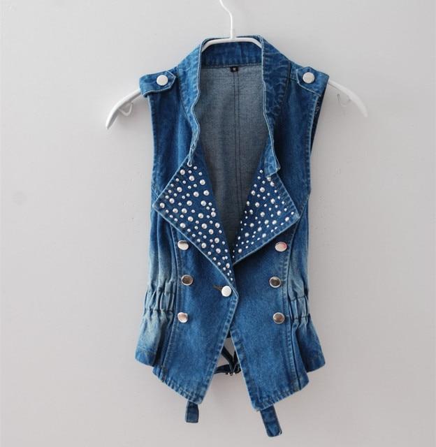 Female Korean Spring Denim Vest Women Big Yards Waistcoat Single-Breasted blue jean sleeveless jacket 80104
