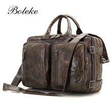 High Quality Genuine Oil Wax Leather Briefcases Laptop Business Zipper Handbag Soft Crossbody Tote Bag Messenger Bag 7002