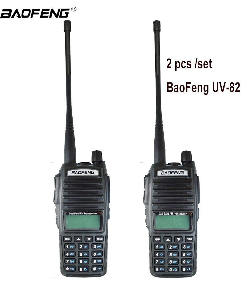 2 pcs Talkie Walkie UV82 Chasse Émetteur-Récepteur Baofeng UV-82 UV 82 Portable Two way Radio Double PTT Ham CB Radio station VHF UHF