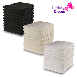 [Littles&Bloomz] 10Pcs Reusable Washable Inserts Boosters Liners For Pocket Cloth Nappy Diaper microfibre bamboo charcoal insert