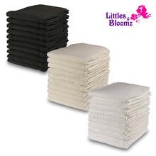 [Littles & Bloomz] 10 шт Многоразовые моющиеся вкладыши для карманных подгузников из микрофибры бамбуковый угольный вкладыш