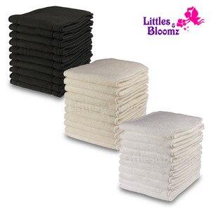 Image 1 - [Littles & Bloomz] 10 шт Многоразовые моющиеся вкладыши для карманных подгузников из микрофибры бамбуковый угольный вкладыш