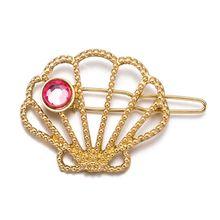 Minimalist Ocean Hollow Seashell Shaped Hair Clip Women Metallic Gold Glitter Hairpins Red Faux Diamond Wedding Bridal Barrettes