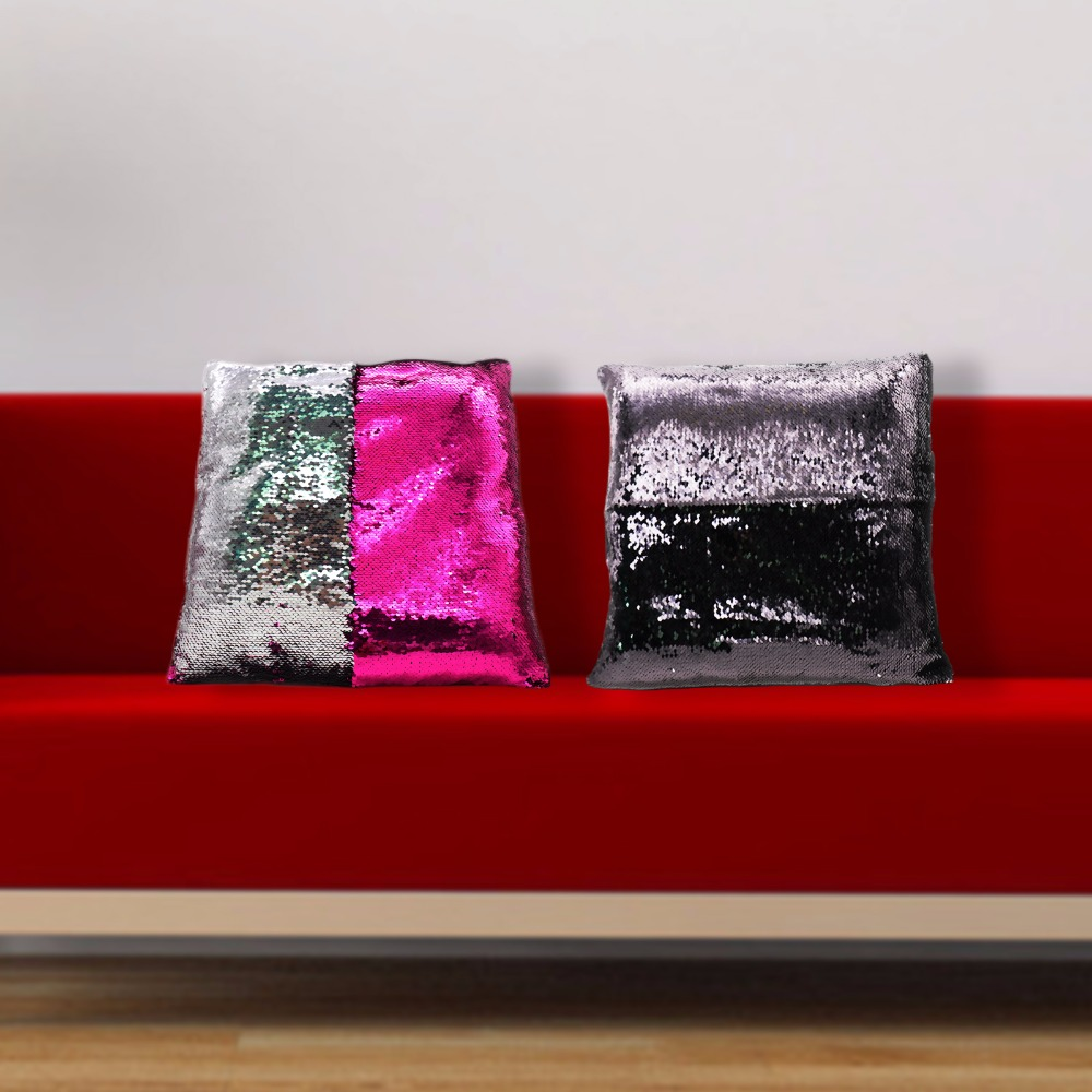 High Quality Reversible Sequin Cushion Cover Magical Throw Pillowcase Color Changing Two Tone Glitter DIY Pillow Case Home Decor