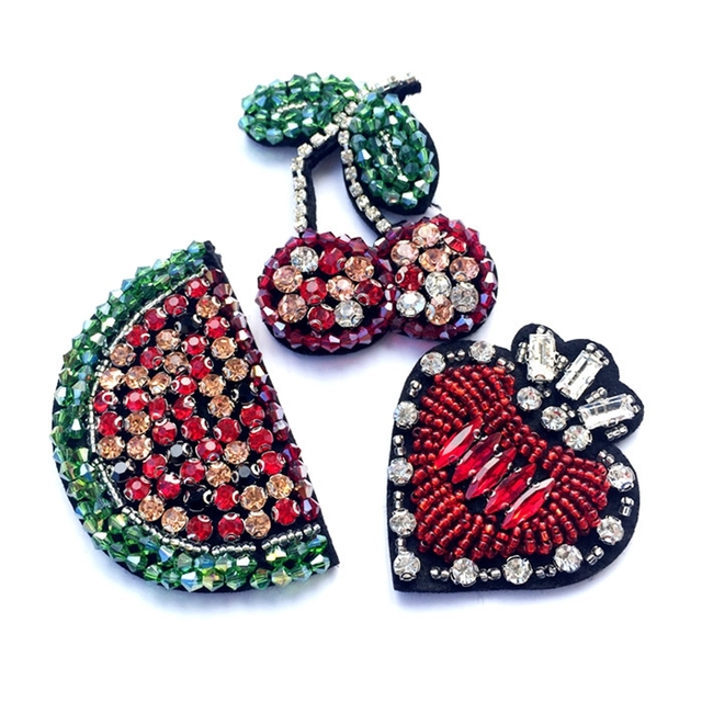 Handmade Beaded Embroidery Watermelon Cherry Love Fruit Patches