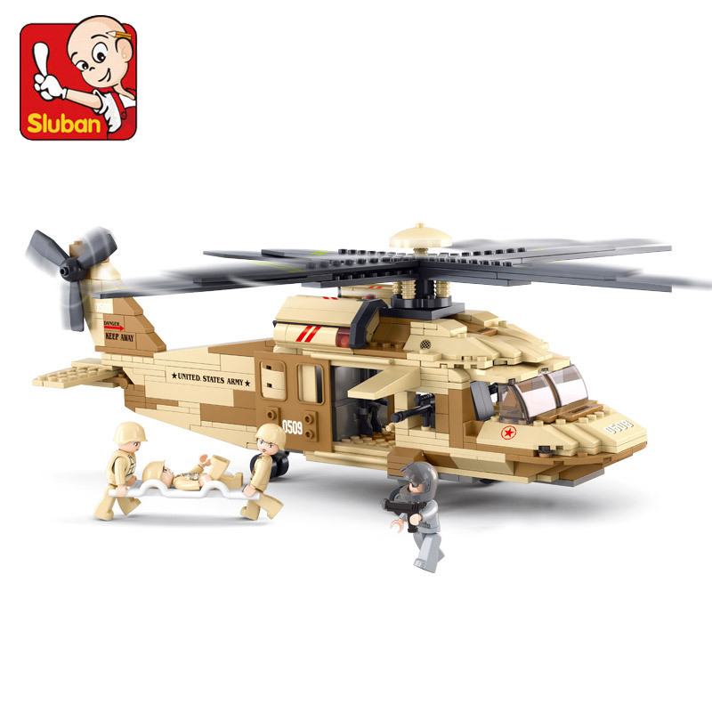 Sluban model building kits compatible with lego city plane 744 3D blocks Educational model & building toys hobbies for children